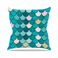 "Famenxt ""Mermaid Fish Scales"" Teal Nautical Illustration Throw Pillow"