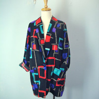 Vintage 80 Jacket / Slouchy Jacket / Silky Boxy Blazer / Abstract Jacket