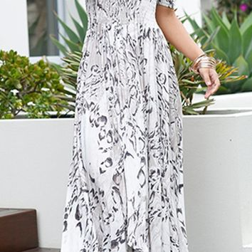 Walking On Water White Geometric Pattern Short Sleeve Smocked Off The Shoulder Split Front Casual Maxi Dress