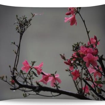 ROPC Gray with Pink Flowers Pillow Case