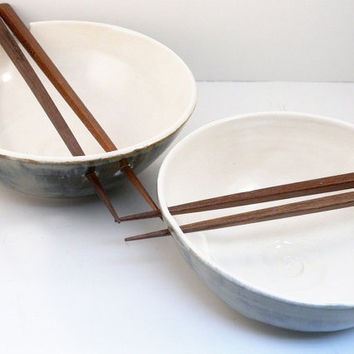 Two Rice Bowls with Chopsticks / Noodle Bowls by BlueSkyPotteryCO
