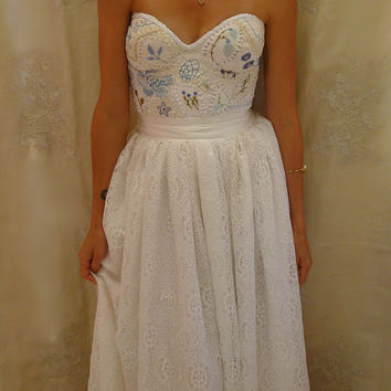 Meadow Bustier Wedding Gown Size S M Dress Boho Whimsical Woodland Country Vinta