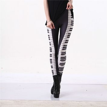 Piano Leggings Black White Stripe Sexy Leg Hot 3D Graphic Printed Music Keys Fitness Leggings Pants Gymwear Funky Capris S-4XL
