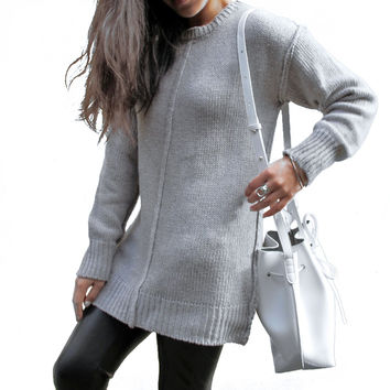 OLIVIA Exposed Seams Knitted Sweater - Grey