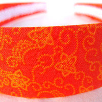 Fabric Covered Headband Orange and Yellow Print by GracefulbyAnna