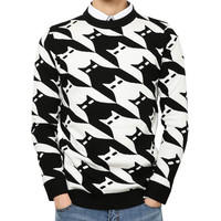 Batwing Print Knitted Pullover Sweater