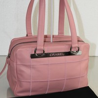New CHANEL Classic Quilted Pink CAVIAR Leather Purse Tote Shopper Camera Bag