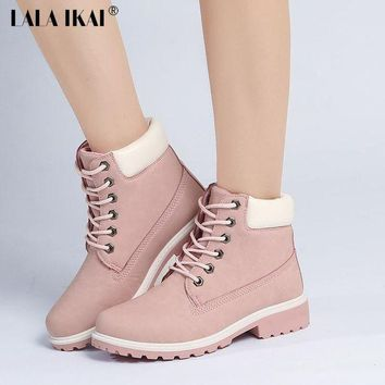 LALA IKAI 2017 Pink Nubuck Leather Women Boots Lace up Casual Ankle Boots Martin Round