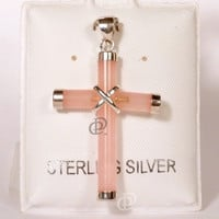 Pink Jade Cross Pendant with Sterling Silver Caps and Bail