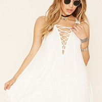 Lace-Up Flared Mini Dress
