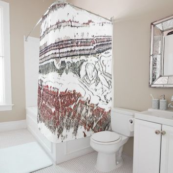 Marble Floor Colored Pencil Sketch Design Shower Curtain