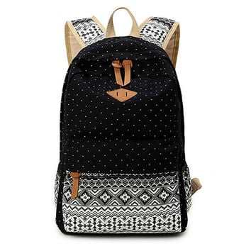 92aef2cc13e4 Women s Black Polka Dots Backpack for College Bookbag for Teen Girls School  Bag