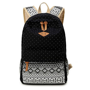 Black Ethnic Backpack School Bookbag Travel Bag