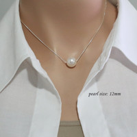 CUSTOM COLORS 12mm Swarovski White Pearl Necklace, Bridesmaid Necklace, Sterling Silver Necklace, Single Pearl Necklace, Bridesmaid Gift