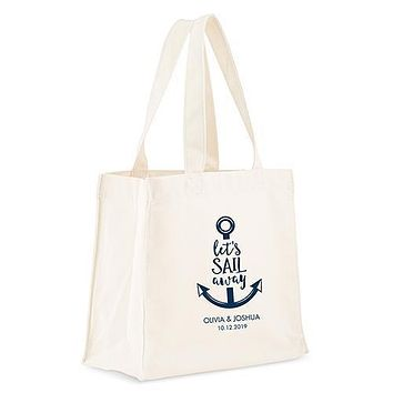 Personalized White Canvas Tote Bag - Let's Sail Away Tote Bag with Gussets Navy Blue (Pack of 1)