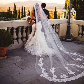 Real Photo White Ivory 3M Long Wedding Veils Cathedral Bridal Veil With Comb Voile Mariage 2016 Wedding Accessories In Stock