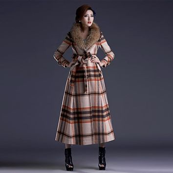 New Fashion High Quality vintage plaid wool coat large fur collar winter coat long outwear plus size X long trench cashmere coat