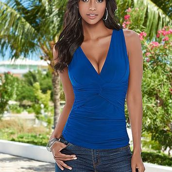 Plain V Neck Tank Top