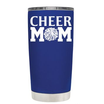 Cheer Mom Pom Pom on Blue 20 oz Tumbler Cup