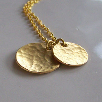 Etsy, Hammered Double Brass Disc Necklace, Metalwork Necklace, Brass Disc Necklace, Gold Disc Necklace, Gift, Etsy Jewelry