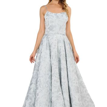 Prom Ball Gown Spaghetti Straps Silver with Pockets