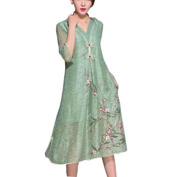 New Green Flax Dress Half Sleeve V Neck Loose Plus Size Print Dress