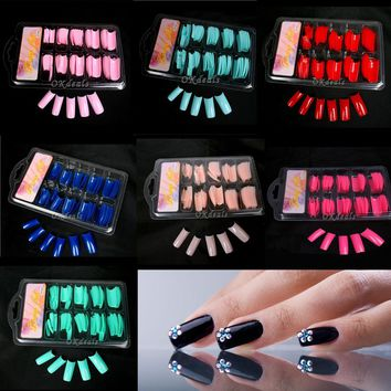 100 Pcs/Lot Women Lady Hot Sale False Fake Acrylic Gel French Nail Art Half Tips Salon Colorful False Nail Tips Makeup Tools