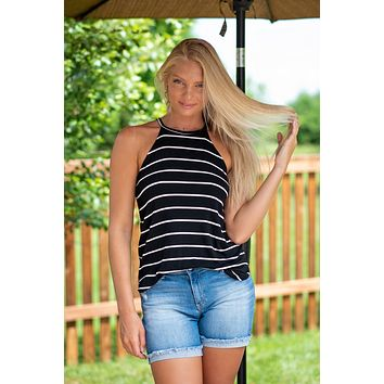 Strike it Up Striped Tank: Black