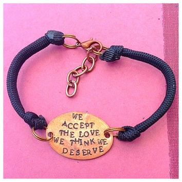 We accept the love we think we deserve (the perks of being a wallflower quote) pressed penny bracelet