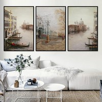 3 Pieces Water City Landscape Canvas Paintings Modular Pictures Wall Art Canvas for Living Room Decoration No Framed