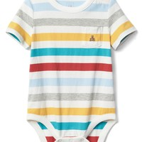 Stripe short sleeve pocket bodysuit | Gap