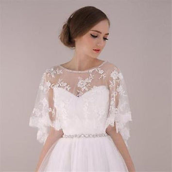 2017 New Elegant Lace Long Sleeves Bolero Shrug Jacket Stole Wedding Prom Party White Ivory shawl Wedding Jacket Free Shipping