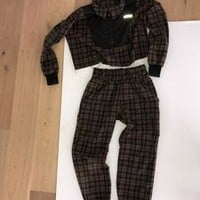 Brown Plaid Flannelette Sweatsuit