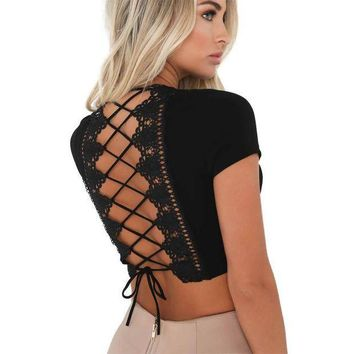 ESB1ON 2017 Summer Back Appliques Bandage T Shirt Women Crop Top Punk Fashion lace up Bohemia solid white camiseta