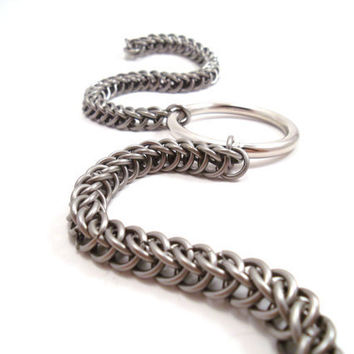 Stainless Steel Chainmail Bondage Collar O by SerenityInChains
