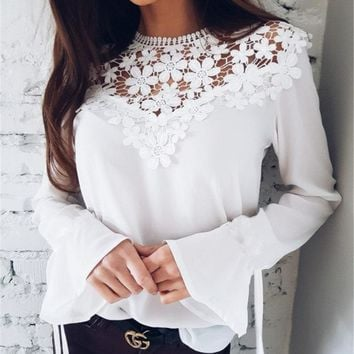 Sexy Long-Sleeved Lace Stitching Chiffon Blouse