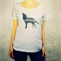 Wild and Free (Wolf in Grey) // Ladies Womens Shirt, scoop neck, T-shirt, Illustration, Forest Animal, Wolf Howling at Moon, Lisa Barbero