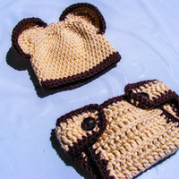 Baby Bear Crochet Hat and Diaper Cover Set-Perfect Newborn Prop-Baby Shower Gift-Halloween-Customizable Colors Choose Your Size- Neutral