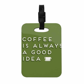 "Busy Bree ""Good Idea"" Green Tyopgraphy Decorative Luggage Tag"