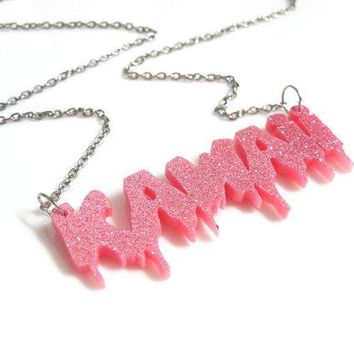 Kawaii Cute Harajuku Letter Font Glittery Pink Acrylic Laser Cut Pendant Rhodium Plated Silver Toned Chain Necklace