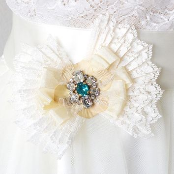 Sash Pin ~ Pleated Lace Butterfly