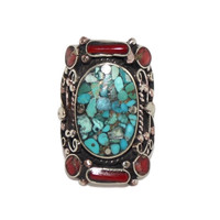 Boho Turquoise Coral ring