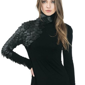 Long Sleeve Blouse With Faux Leather Detail
