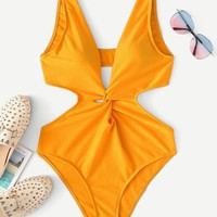 Cut-Out Twist One Piece Swimsuit