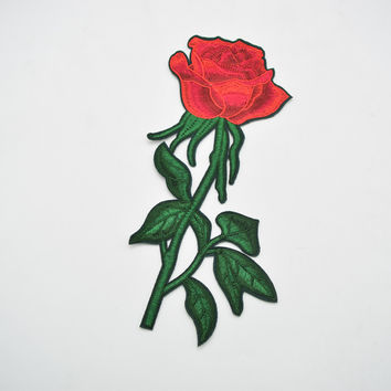 10pcs  9'' Fashion Embroidered Red Rose Flower Patch iron on Applique Sew Dress DIY