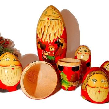 Santa Claus Nesting Dolls Hand Painted Wooden Boxes Russian Style Vintage Christmas Decorations