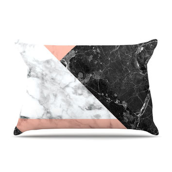 "KESS Original ""Geo Marble and Coral"" Black Art Deco Pillow Case"