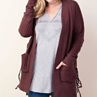 Chunky Rope Pocket Cardigan | Wine | Plus