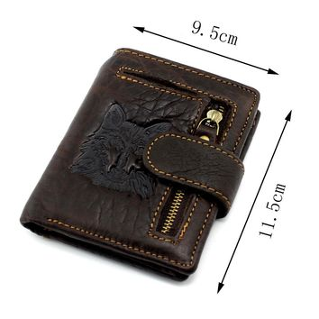 2017 Top Quality New Arrival Genuine Leather Wallet Wolf&Eagle Totem Men Wallets Luxury Dollar Price Vintage Male Purse Coin Bag