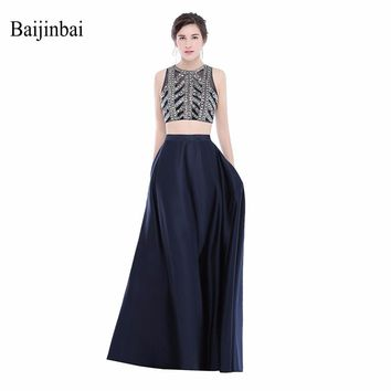 New Crop Top Two Pieces Zipper Back Long Prom Dresses With Beading Sequined Floor Satin Length 2018 Women Formal Party Dress575